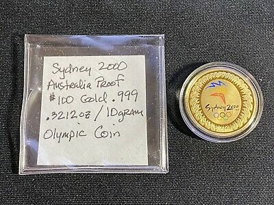 2000 Sydney Olympic 10g (.3212oz) .999 Gold Coin Free Shipping