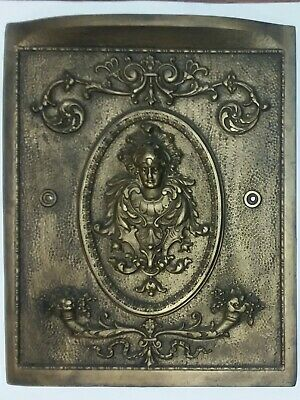Antique Cast Iron Fireplace Summer Cover Insert Bronze Color w/ Figural Goddess