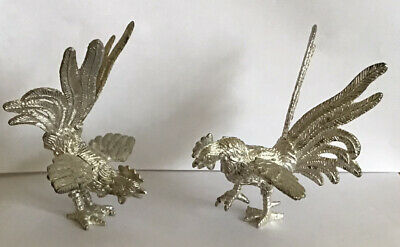 A Pair Of Antique Silver Plated Fighting Cocks/Cockerels/ Roosters/Chickens