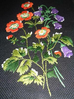 Beautiful Hand Embroidered Vintage Panel, Sprigs Of Poppies & Harebells