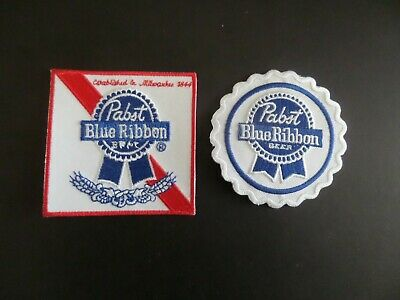 "LOT OF 2-PABST BLUE RIBBON""BEER  Embroidered  Iron On Patches"