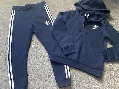 Boys Adidas Tracksuit Age 8-9 Years Navy Hooded Jumper/joggers