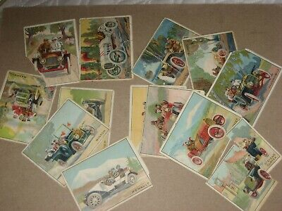 1910 T37 Turkey Red Automobile Series set - lot of 13 Tobacco cards