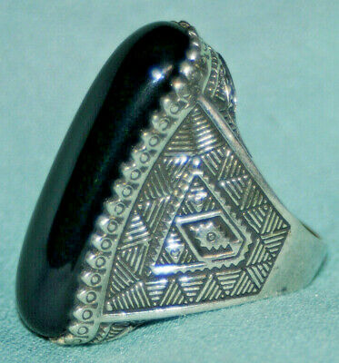 Amazing highly detailed Style ROMAN Silver color RING Rare Black Onyx Stone