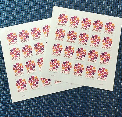 USPS Hearts Blossom Love Forever Stamps 40 Stamps / Two Panes