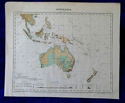 1866 Australia & New Zealand South Pacific islands portion SE Asia antique MAP