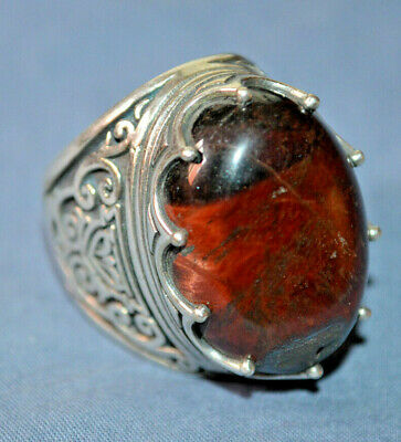 One of a kind style roman Silver color RING Rare Beautiful Onyx Stone