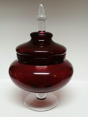 Vintage Ruby Red Flashed Glass Large Pedastal Compote w/ Lid