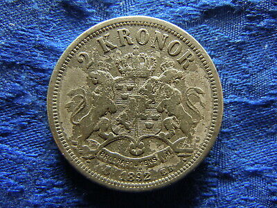 SWEDEN 2 KRONOR 1892, KM761 laminated surface