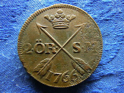 SWEDEN 2 ORE 1766, KM461 corroded