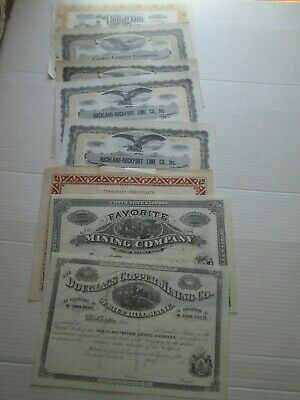 EIGHT (8), MAINE MINING STOCK CERTIFICATES, as seen in the pictures. SOME BLANK
