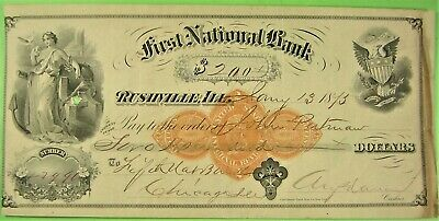 Bank Draft, First Nat Bk of Rushville, Ill.  Highest quality printing. RN-D1