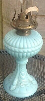 Antique Working French Portieux Vallerysthal Opaline glass Oil Lamp