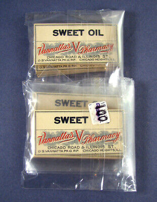 Large Lot abt 200 old SWEET OIL labels CHICAGO HEIGHTS ILL / Vannatta's Pharmacy