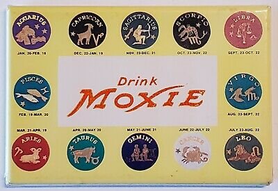 Vintage 1950's Drink Moxie Soda Advertising Signs Of Zodiac Pocket Mirror RARE