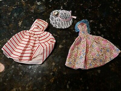 2 Vtg Barbie Dress Strapless Red & White Striped Floral Lace Casual & Sun Hat