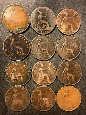 Vintage Great Britain Coin Lot - 12 OLDER PENNIES - 1876-1911 - Lot #M24