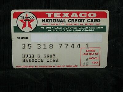 Vintage 1965 Texaco National Credit Card Gas & Oil Service Station Advertising