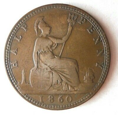 1860 GREAT BRITAIN 1/2 PENNY - VERY RARE DATE COIN - RARE TYPE - Lot #M24