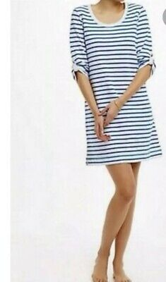 Anthropologie E By Eloise SZ S Blue White Stripe Shift Dress 3/4 Sleeved
