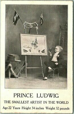 """1910s MIDGET Circus Sideshow Postcard """"PRINCE LUDWIG - Smallest Artist in World"""""""