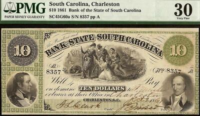 1861 $10 Dollar South Carolina Bank Note Large Currency Old Paper Money Pmg 30