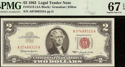Superb Gem 1963 $2 Two Dollar United States Legal Tender Red Seal Note Pmg 67 Ep