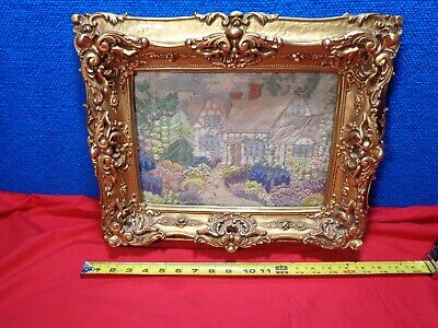 ~*~ATTIC FIND~*~. Antique Framed Needlework Landscape Picture Folk Art