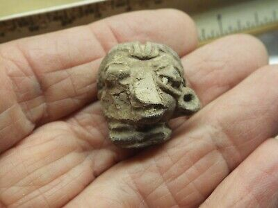 RARE Aztec, MAYAN  c. 1400-1500 AD. CLAY FIGURE  HEAD LOT FM-22