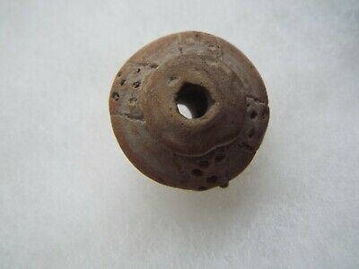 RARE Aztec, MAYAN  c. 800-1200 AD.CLAY  WHORL BEAD LOT A-22