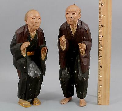 Authentic Hand Carved & Painted 10in Tall Japanese Man & Woman NO RESERVE!