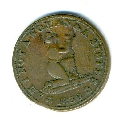 """Hard Times Token  - Original Anti Slavery """"Am I Not A Woman And A Sister"""" 1838"""