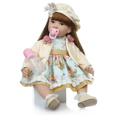 Real life 24inch Toddler Reborn  Dolls Sweet Girl Cute Silicone Lifelike Babies