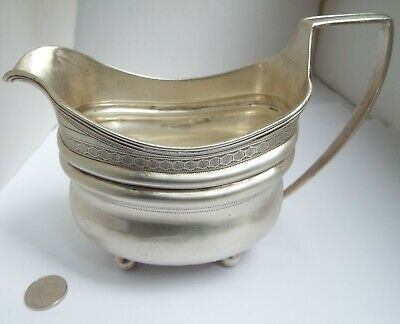 Handsome Large Heavy English Antique Georgian 1805 Sterling Silver Cream Jug