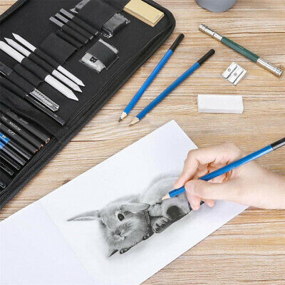 Artists 32pc Professional Sketching Drawing Set Art Pencil Kit Graphite Charcoal