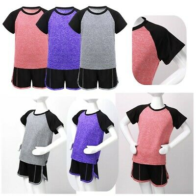 Kids Boys Girls Summer Outfits Tracksuit Tops T-shirt + Shorts Sports Costumes