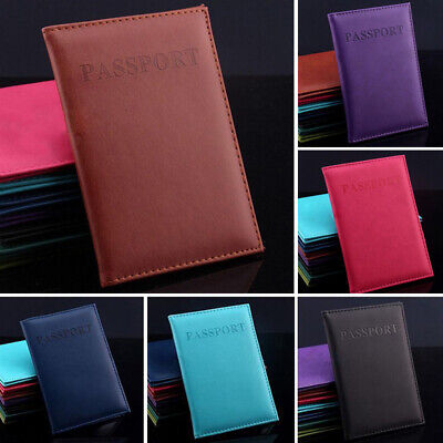 Leather Passport Cover Protector ID Case Card Holder Travel Wallet Deep Blue