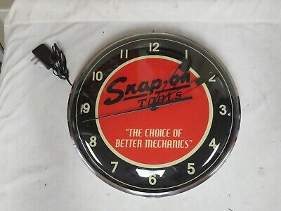 """Snap On Tools Clock The Choice of Better Mechanics 15"""" Round Real Nice"""