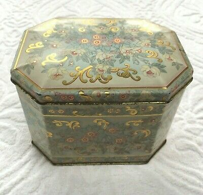 Vintage Meister Floral Octagon Metal Tin Container with Hinged Lid Made i Brazil