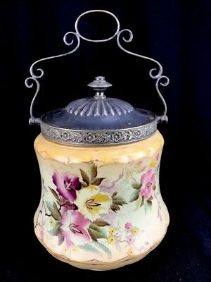 "Antique English Biscuit Jar Barrel Carlton Petunia Porcelain Silverplate 6"" R1"