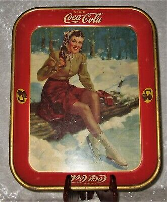 """An Original 1941 Lady Ice Skater COCA COLA SERVING TRAY 10 1/2"""" x 13 1/4"""""""