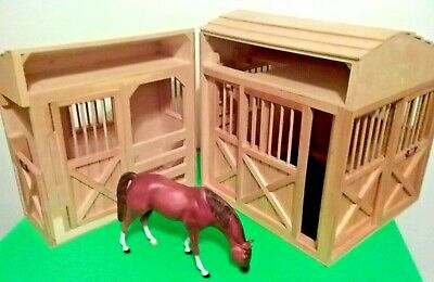 "LARGE HORSE BARN ☆ 2pc WOOD TOY STABLE Fits Breyer Horses 17""×14.5"" (Melsa&Doug)"