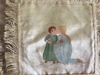 Antique painted silk mats - qty 10 - Kate Greenaway type characters