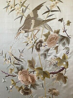 Nice Antique Chinese Embroidered Silk Qing Dynasty Embroidery Celadon Color