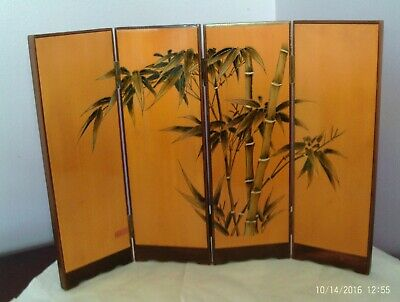 Fab Chinese Small Wooden Screen With Bamboo Plant On 23 Cms Tall 30.5 Cms Long