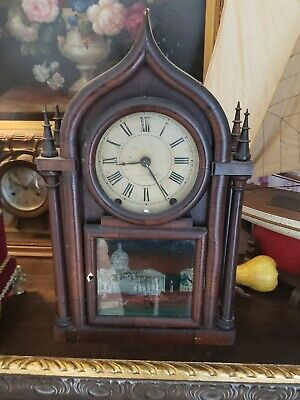 Brewster Ingraham, Bristol, Conn, 8-day Onion top 4 column Clock 1845