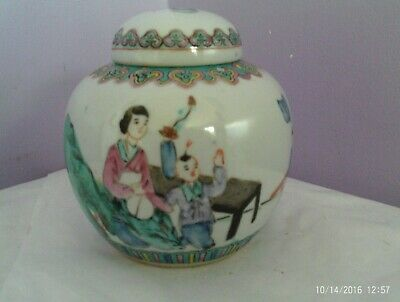 Fab Antique Chinese Porcelain Lady At Table With Children Ginger Jar/Pot/Vase
