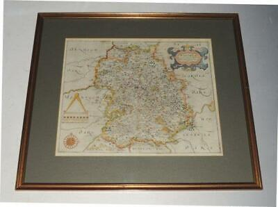 Saxton Hole Original Engraved Map of Shropshire Salopia Hand Coloured 1637