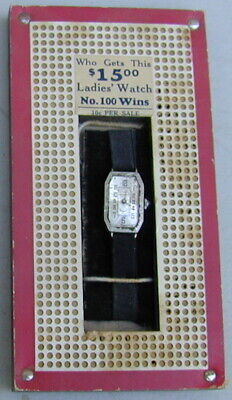 Old Original Punch Board Game with Lady's Wrist Watch For Prize 1930's Very Rare