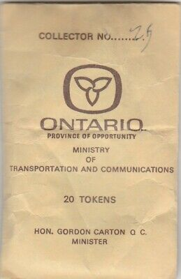 Ontario Department Of Highways Class 1 Vehicle Tokens Full Pack of 20